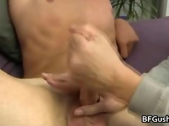 Blonde hunky dude gets his cock jerked